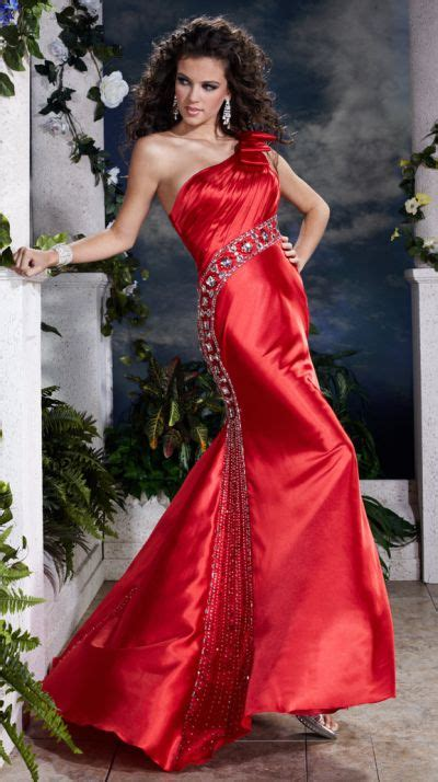 Panoply Beaded One Shoulder Bow Prom Dress 14385: French