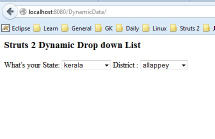 Dynamic Drop Down List with Struts2 UI tag without AJAX