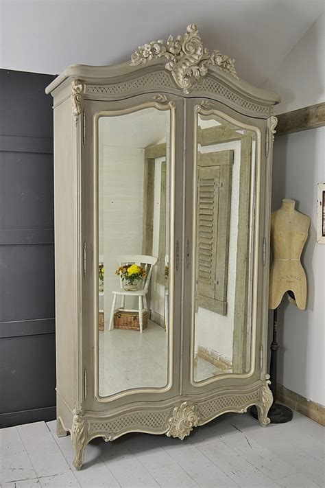 Large French Shabby Chic Knock Down Armoire   Bedroom