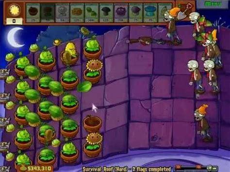 Plants vs Zombies - Survival Roof Night Endless - YouTube