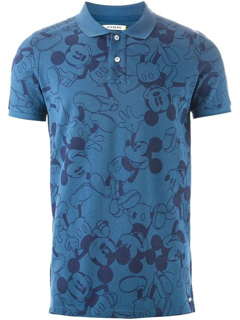 Lyst - Iceberg Mickey Mouse-Print Polo Shirt in Blue for Men