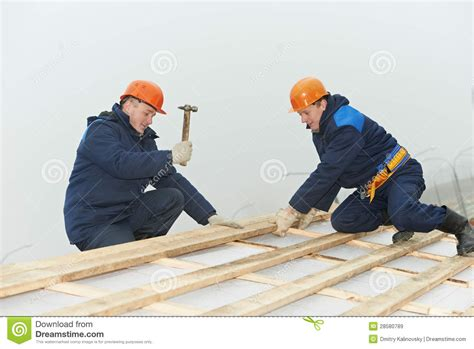 Roofing Workers Hammer Roof Boarding Stock Image - Image