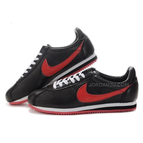 Nike Cortez Women Leather Shoes Black Red, Price: $99