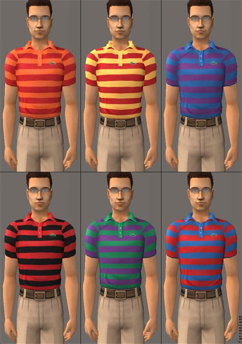 Mod The Sims - Striped Lacoste Polo Shirts